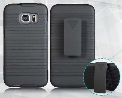 - BLACK HARD CASE COVER + BELT CLIP HOLSTER STAND FOR SAMSUNG GALAXY S7 EDGE G935