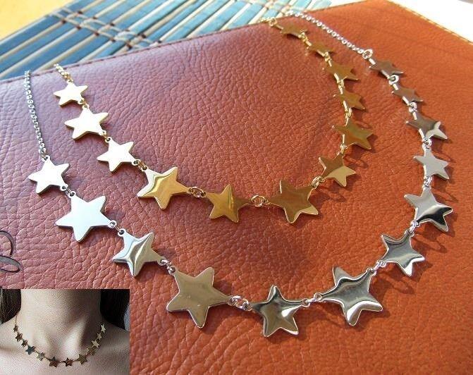 Collana con 12 stelle in acciaio 316L - Oro/Argento Moda Novità