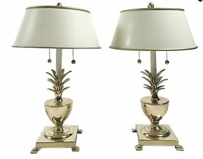 BEACH CHIC  Pair Of Vintage Antique Gold Palm Leaf Lamps  Holes For Crystals  Leave /'As Is/' Or Paint  Regency Decor PALMS