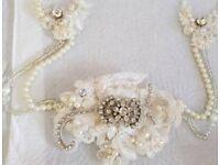 Bridal hair vine,garter and wrist cuff