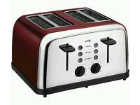 LOGIK L04TR14 4-Slice Toaster - Silver & Red/cream