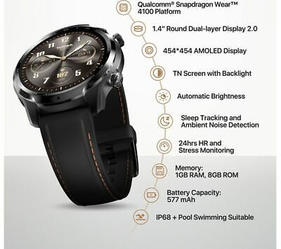 MOBVOI TicWatch Pro 3 GPS - Shadow Black, Silicone Strap AS SEEN IN LISTING