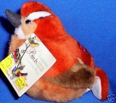 "AUDUBON WILD REPUBLIC CAROLINA WREN SONG BIRD NWT FREE 3"" CARDINAL W/ 3 BIRDS"