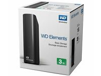 BRAND NEW - 3TB EXTERNAL HARD DRIVE - WD ELEMENTS - 3TB - SEALED BOX - COST £94.99 - ACCEPT £80