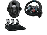 Logitech G29 steering wheel and pedals with gear shifter