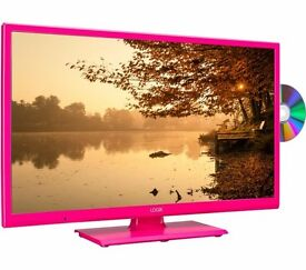 "New LOGIK L24HEDP15 24"" LED TV with Built-in DVD Player Pink Was: £149.99"