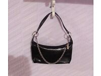 Black bag purse with silver chain detail goth rock chick