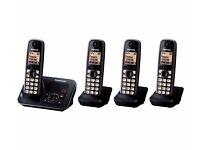 New PANASONIC KX-TG6624EB Cordless Phone with Answering Machine Quad Handsets Was: £149.99
