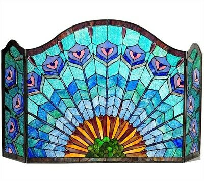 Stained Glass Fireplace Screen Victorian Peacock Feather Design Tiffany Style