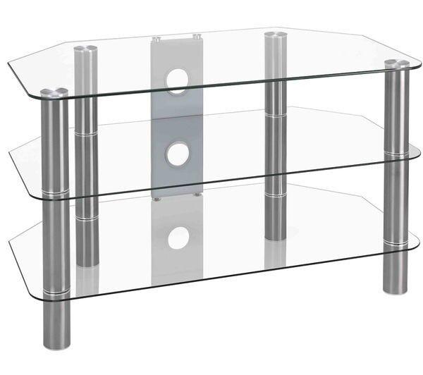 LOGIK S800CG14 Clear 3 Glass Shelves TV Stand - Built