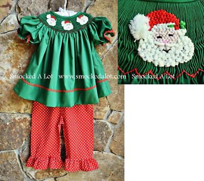 Smocked A Lot Christmas Santa Green Red Polka Dot Ruffled Pants Set Dress Outfit