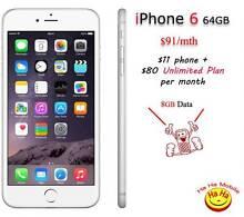 Unlocked iPhone6 Unlimited Infinite Australian Calls 8GB data/mth Auburn Auburn Area Preview