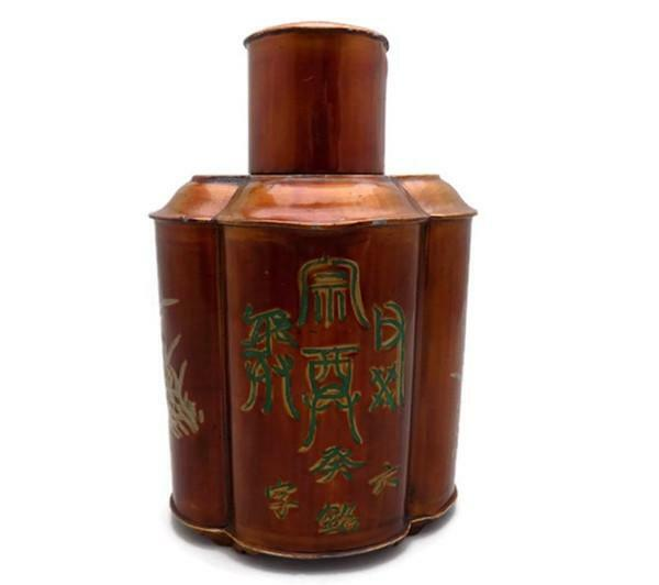 Chinese Pewter Tea Caddy Lacquered and Gilded