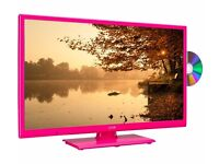 """New LOGIK L24HEDP15 24"""" LED TV with Built-in DVD Player Pink Was: £149.99"""