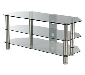 "New LOGIK S105CG11 CLEAR TEMPERED GLASS TV STAND for upto 49"" TVS"