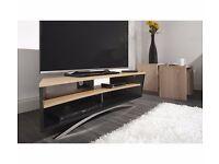 TECHLINK PRISMA PR130SBLO SATIN BLACK LIGHT OAK EX DISPLAY TV STAND