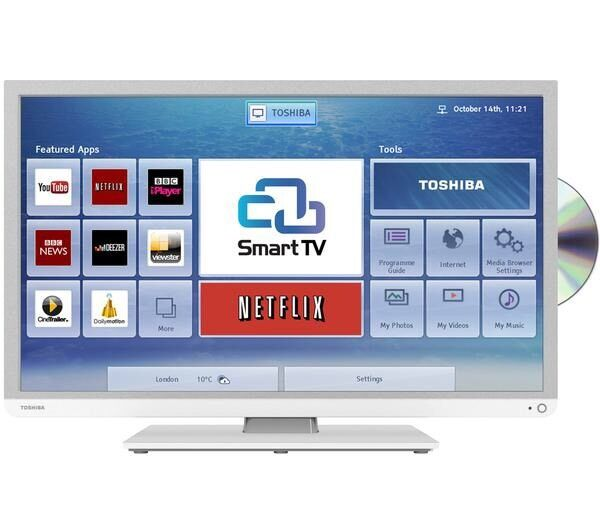 toshiba white 32 inch smart led tv built in dvd in leicester leicestershire gumtree. Black Bedroom Furniture Sets. Home Design Ideas