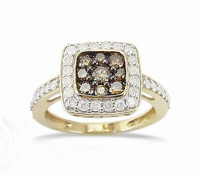 100% 10k Yellow Gold Chocolate Brown & White Diamond Square Cluster Ring 1.0ct