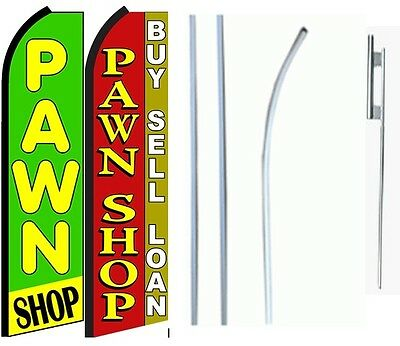 Pawn Shop King Size Swooper Flag Sign Wcomplete 2 Full Set