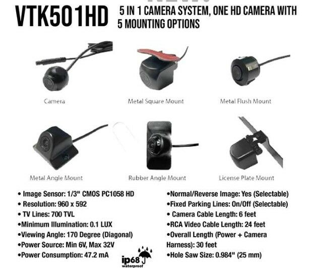 Boyo VTK501HD 5 in 1 170 Degree HD Camera with 5 Mounting Options in the box NEW