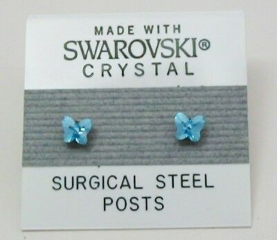 Small Butterfly Earrings - Blue Butterfly Stud Earrings 4mm Small Light Crystal Made with Swarovski Element