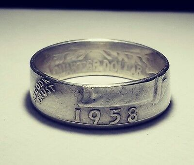 1958 Sizes 4 Thru 9 Silver Coin Ring  In God W Trust   1958     Liberty  Design