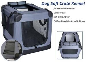 NEW Dog Soft Crate Kennel for Pet Indoor Home  Outdoor Use - Soft Sided 3 Door Folding Travel Carrier with Straps - A...