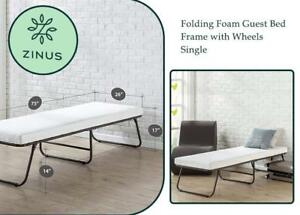 NEW Zinus Folding Foam Guest Bed Frame with Wheels, Single Condition: New, open box