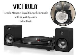 NEW Victrola Modern 3 Speed Bluetooth Turntable with 50 Watt Speakers, Black Piano Finish Condtion: New, Black Piano