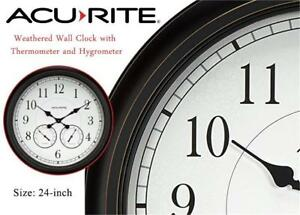 NEW AcuRite 75473 24-inch Weathered Black Wall Clock with Thermometer and Hygrometer Condition: New, open box, Black