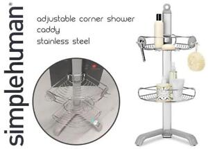 NEW simplehuman Adjustable Corner Shower Caddy, Stainless Steel Condition: New, open box