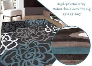 NEW Rugshop Contemporary Modern Floral Flowers Area Rug, 33 x 53, Gray Condtion: New, 33 x 53, Gray