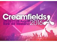 Creamfields ticket 3 day camping