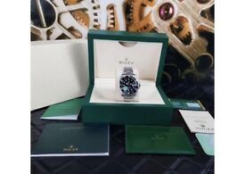 KING FACTORY Rolex Submariner Silver Strap Black Face - Complete Set Box And Papers 1YFW*