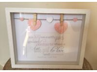 Baby girls white wooden peg photo box frame £8 new