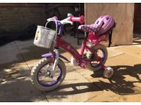 """12"""" Girl's Disney First Bike. Ages 3-5 with Helmet £80 new"""