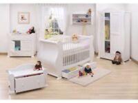 Tutti Bambini white 5 piece sleigh cot furniture set