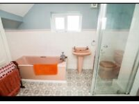 Retro bathroom suite in pink. A few marks but in good working condition.