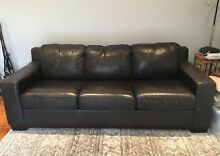 3 seater brown leather sofa bed lounge New Lambton Newcastle Area Preview