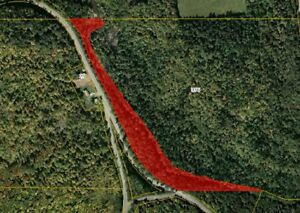 Wooded lot on River de Chute, NB,  Road access, Near US border