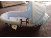 Boys wicker Moses basket great condition £20 no stand