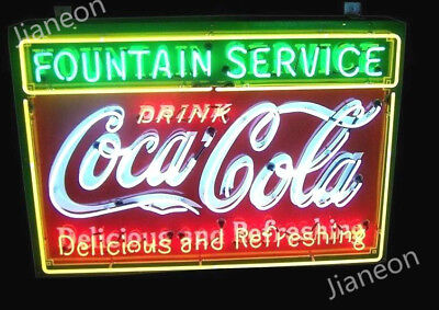 HUGE Coca-Coke-Cola Soda Drink Fountain Service REAL NEON SIGN BEER BAR LIGHT