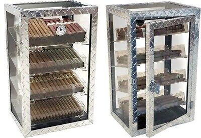 Diamond Plate Industrial Style Metal & Glass Contemporary Cigar Humidor Display