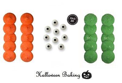 Green Candy Melts (PME DARK GREEN & ORANGE Candy Melts & EYES EYE Toppers Halloween Cake)