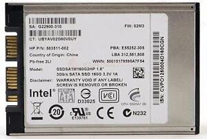 "Intel 1.8"" 160GB SSD Solid State Hard Disk Drive SSDSA1M160G2HP P/N HP 600464-001 HD HDD"