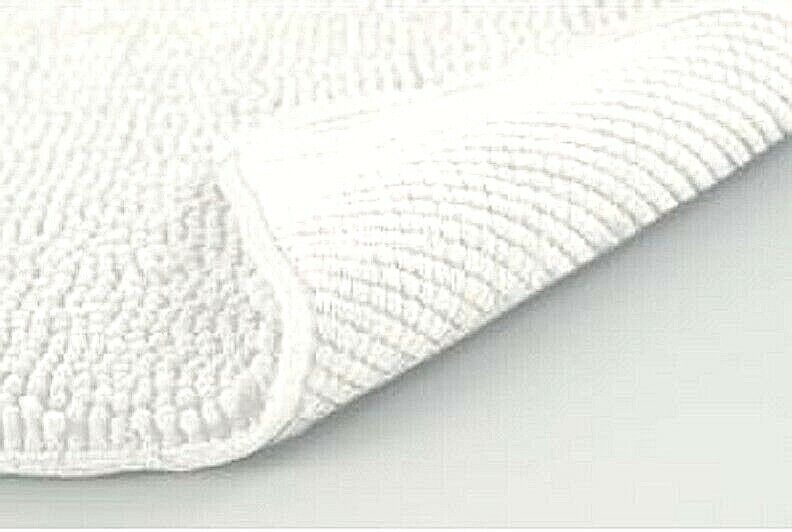 Extra Long Bath Rug Chenille White Soft 24″x 60″ Absorbs up to 7X its Weight NEW Bath
