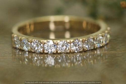 0.90 Ct Round Diamond Stackable Half Eternity Wedding Band 14k Yellow Gold GP