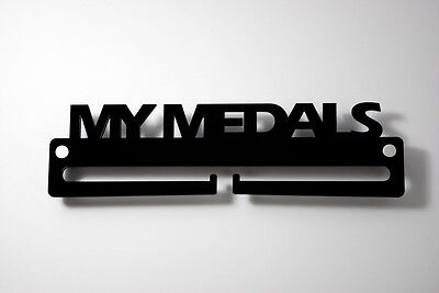 Medal Display Hanger Holder MY MEDALS Black Acrylic with fixings & FREE POST