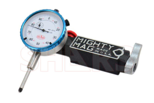"""Mighty Mag 400-3 Universal Magnetic Base + 0 - 1"""" Dial Indicator USA P]"""