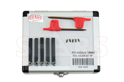 """SHARS 5PC 1/4"""" INDEXABLE TURNING TOOL BIT + INSERTS + CERTIFICATE Save $9.77 ^]"""